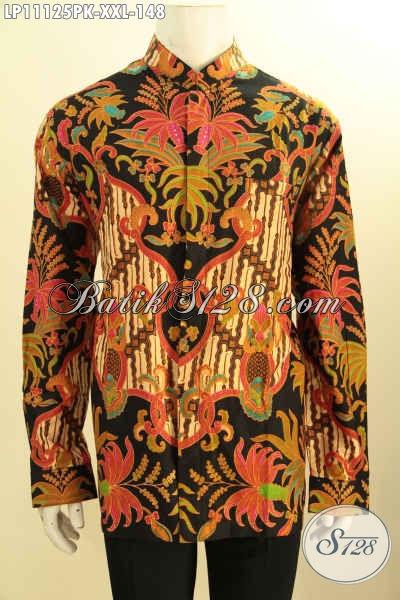 Kemeja Batik Big Size Lengan Panjang Model Koko Kerah Shanghai, Pakaian Batik Modis Dan Istimewa Motif Bagus Proses Printing, Lelaki Gemuk Terlihat Menawan