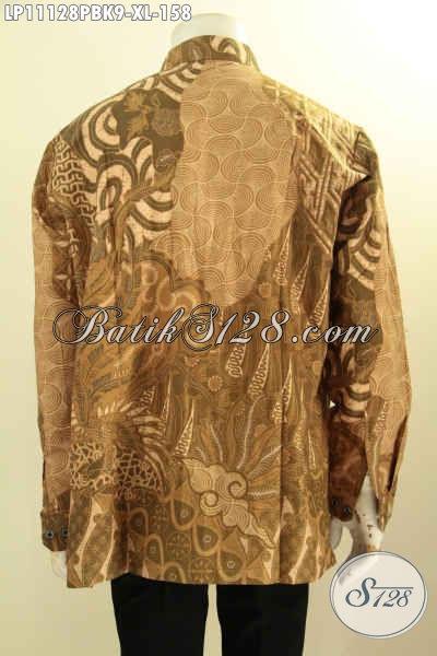 Sedia Kemeja Batik Pria Lengan Panjang Size XL, Pakaian Batik Solo Asli Model Koko Kerah Shanghai Nan Istimewa Yang Membuat Pria Terlihat Tampan Mempesona