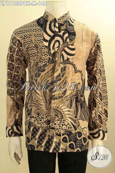 Batik Kemeja Nan Istimewa Model Lengan Panjang Koko Kerah Shanghai, Pakaian Batik Nan Berkelas Motif Bagus Bahan Adem, Penampilan Terlihat Tampan Dan Gagah