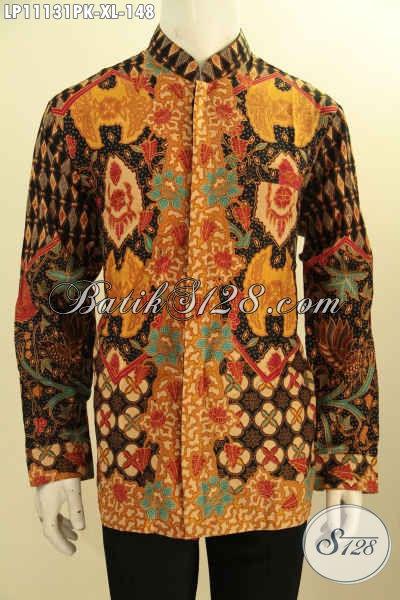 Baju Batik Lengan Panjang Halus Proses Printing Motif Mewah, Pakaian Batik Koko Kerah Shanghai, Tampil Gagah Berwibawa Di Setiap Acara Resmi