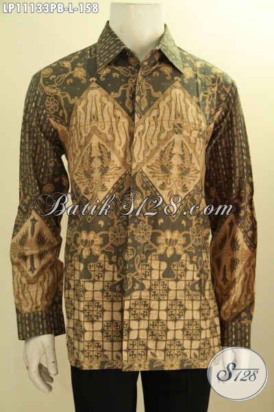 Batik Kemeja Lengan Panjang Khas Solo Jawa Tengah, Pakaian Batik Modis Mewah Motif Bagus Bahan Adem Proses Printing Hanya 158K