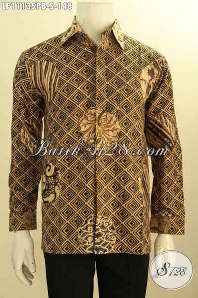 Busana Batik Solo Lengan Panjang Motif Klasik Ukuran S, Pakaian Batik Pria Muda Bahan Adem Proses Printing, Pas Buat Kondangan
