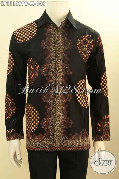 Batik Kemeja Solo Lengan Panjang Modis Halus Bahan Adem Proses Printing, Busana Batik Hitam Model Bagus Dan Berkelas, Penampilan Lebih Istimewa