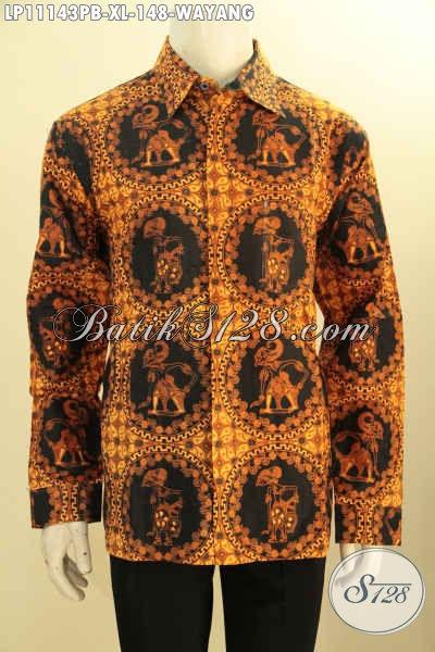 Kemeja Batik Lengan Panjang Size XL Motif Wayang, Busana Batik Printing Cabut Bahan Halus Khas Jawa Tengah, Pilihan Tepat Untuk Tampil Gagah Dan Elegan