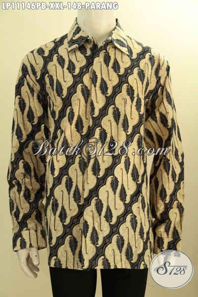 Busana Batik Jumbo Lengan Panjang Motif Parang, Hem Batik Pria Gemuk Nan Istimewa Proses Printing Cabut Bahan Adem Yang Nyaman Di Pakai