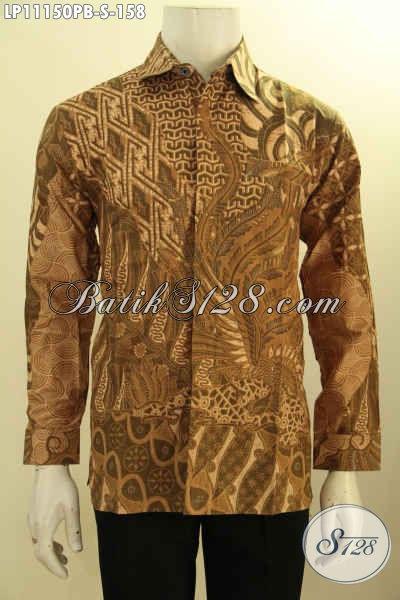 Baju Batik Halus Motif Mewah Model Lengan Panjang Proses Printing, Pakaian Batik Kerja Pria Muda Size S, Tampil Modern Dan Berkelas