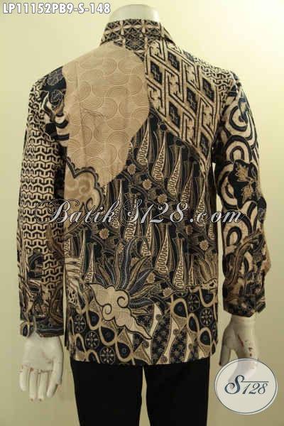 Batik Kemeja Solo Elegan Lengan Panjang Bahan Adem Motif Bagus Nan Unik, Pakaian Batik Pria Size S Proses Printing, Tampil Beda Dan Berwibawa Hanya 148K