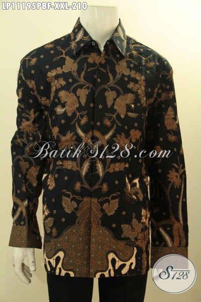 Batik Kemeja Lengan Panjang Elegan Full Furing, Pakaian Batik Solo Halus Motif Bagus Bahan Adem Nyaman Di Pakai Proses Printing Cabut, Spesial Untuk Pria Gemuk