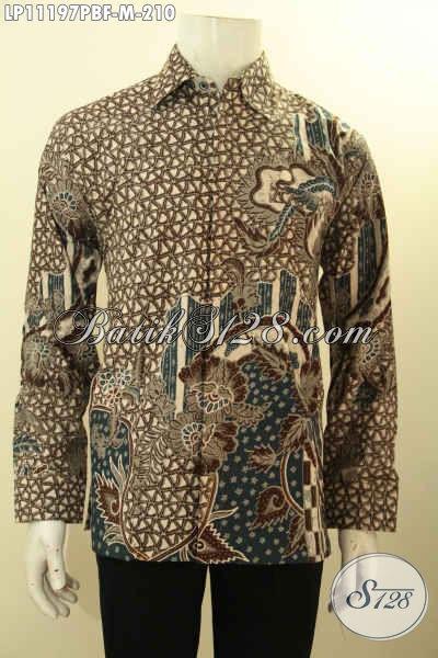 Olshop Busana Batik Solo Lengan Panjang Nan Modis Dan Berkelas, Batik Kemeja Full Furing Cocok Untuk Acara Formal Dan Rapat [LP11197PBF-M]