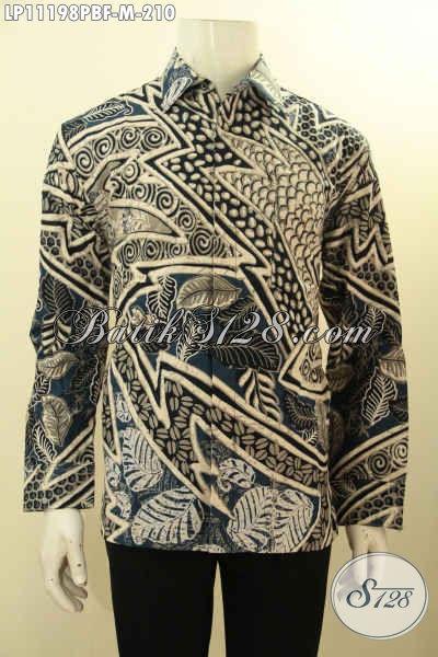 Hem Batik ELegan Model Lengan Panjang, Pakaian Batik Solo Halus Motif Mewah Proses Printing Cabut Daleman Full Furing, Tampil Tampan Gagah Menawan [LP11198PBF-M]