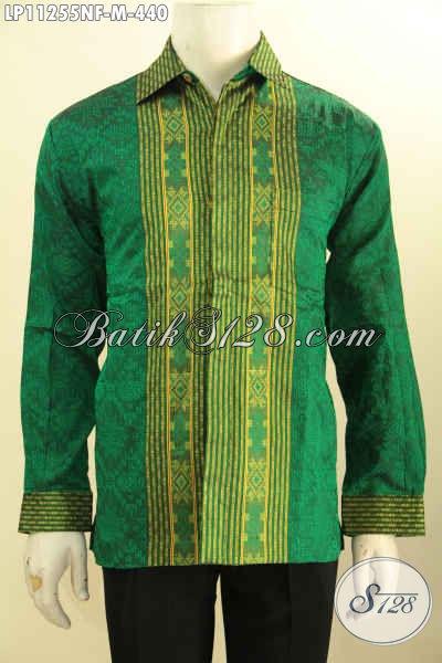 Baju Tenun Warna Hijau Lengan Panjang, Produk Baju Tenun Mewah Full Furing Bahan Adem, Busana Tenun Premium Untuk Rapat Dan Acara Resmi Tampil Gagah Berwibawa