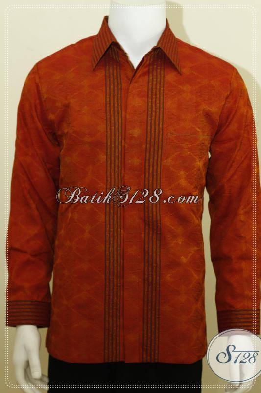Jual Kemeja Tenun Online Warna Oranye, Tenun Ikat Tiga Dimensi Orange [LP1233NF-M]