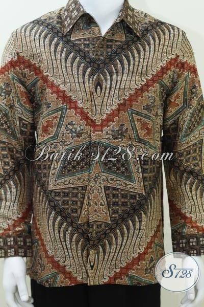Baju Batik Sutra Laki-Laki Lengan Panjang Moif Modern