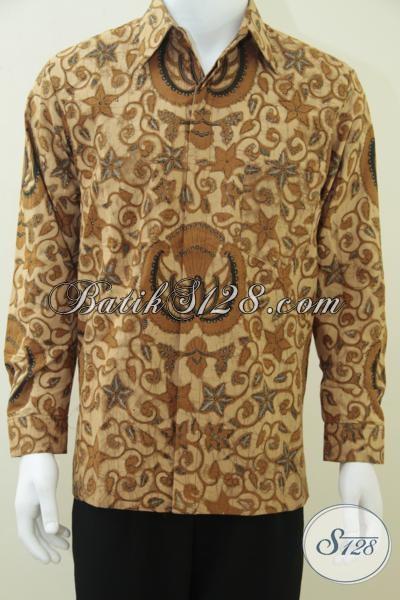 Kemeja Batik Premium Khas Solo, Baju Batik Lengan Panjang Mewah Dengan Daleman Furing Bahan Halus Adem, Size M