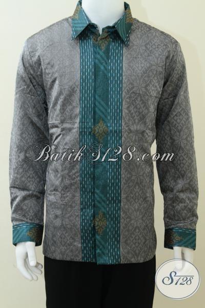 Baju Tenun Pria Ukuran XL Lengan Panjang Warna Perak / Silver, Tampil Stylish Acara Resmi [LP1671NF-XL]