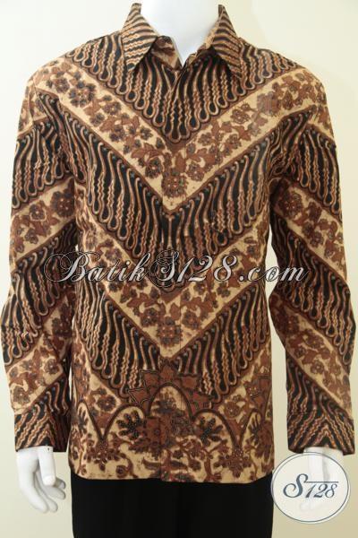 Kemeja Batik Solo Klasik Modern Lengan Panjang, Hem Batik Mewah Elegan Gagah Untuk Para Pejabat Publik, Size XL