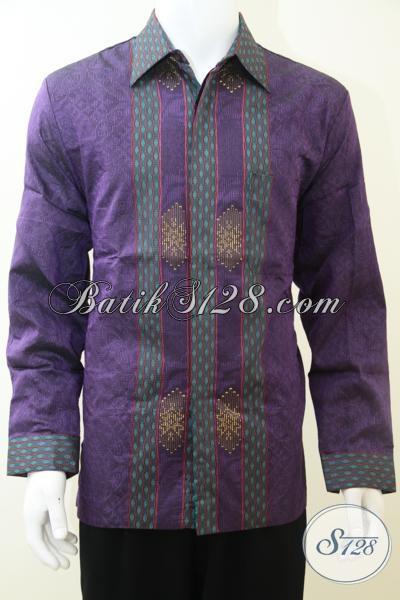 Pakaian Resmi Lengan Panjang Untuk Pria Dewasa Tampil Elegan, Hem Tenun Premium  Warna Ungu Berbahan Halus Dan Lembut, Size XL