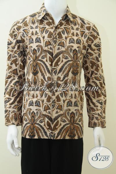 Baju Batik Pria Eksklusif Lengan Panjang, Batik Solo Jawa Indonesia [LP2363BT-M,L,XXL]