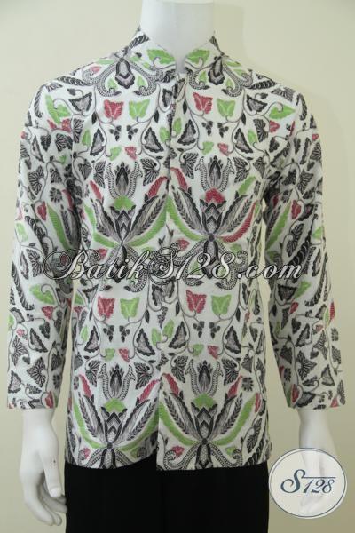 Baju Koko Batik Pria Terbaru Motif Klasik Pisang Bali Warna Putih