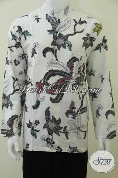 Baju Koko Pria Warna Putih Eksklusif Elegan, Batik Kerah Shanghai Pria Lengan Panjang [LP2376BTK-XL]
