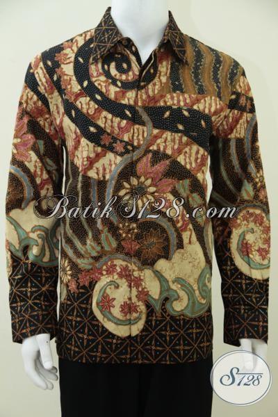 Tempat Belanja Batik Solo Online Terpercaya, Jual Hem Batik Motif Unik Klasik Lengan Panjang Proses Tulis Dilengkapi Daleman Furing Berkesan Mewah, Size L
