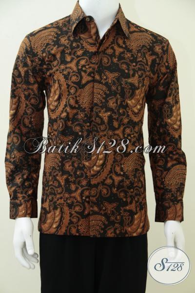 Busana Batik Solo Kwalitas Premium, Baju Batik Kombinasi Tulis Model Lengan Panjang Dengan Warna Dan Motif Klasik Full Futing Mewah Elegan, Size M