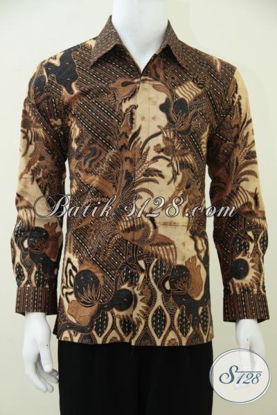 Jual Kemeja Batik Lengan Panjang Klasik Modern, Hem Batik Resmi Proses KOmbinasi Tulis Dilengkapi Full Furing Mewah Berkelas, Size M