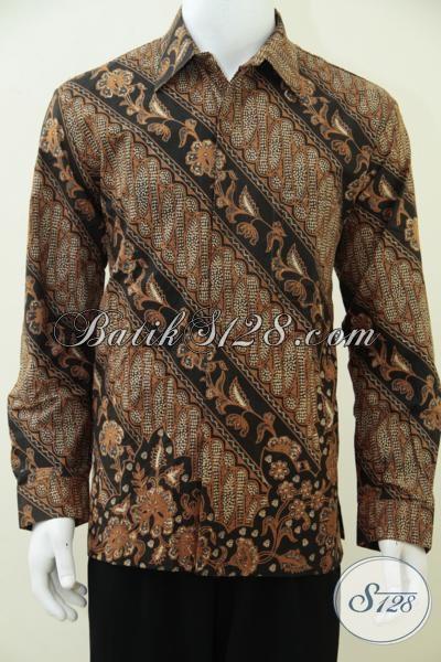 Hem Batik Solo Motif Klasik Model Lengan Panjang, Busana Batik Resmi Pria Muda Dan Dewasa Tampil Gagah Dan Berwibawa, Size L