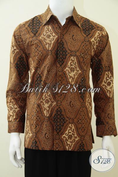 Baju Batik Lengan Panjang Motif Klasik Dilengkapi Pula Daleman Full Furing, Busana Batik Etnik Lengan Panjang Pria Tampil Elegan Berkarakter, Size M