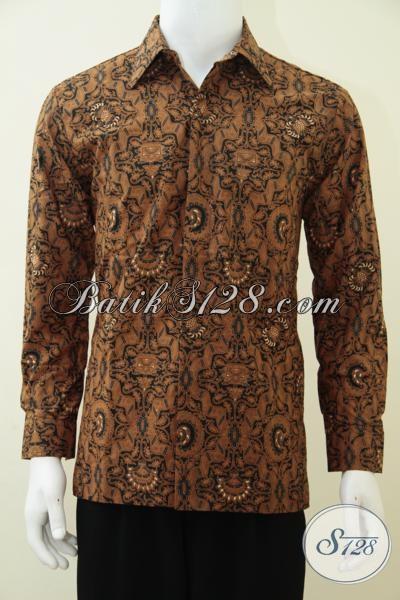 Jual Online Kemeja Batik Klasik Khas Solo Untuk pria Muda Dan Dewasa, Baju Batik Lengan Panjang Full Furing Cowok Tampil Mewah Berkelas, Size M – XL
