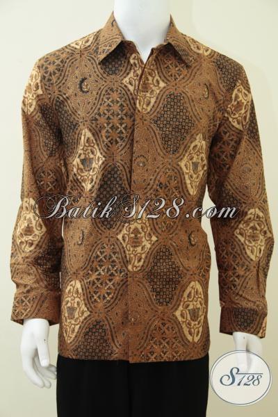 Kemeja Batik Lengan Panjang Motif Klasik Untuk Bapak-Bapak Tampil Seperti Pejabat, Baju Batik Mewah Full Daleman Furing Lebih Berkelas, Size L