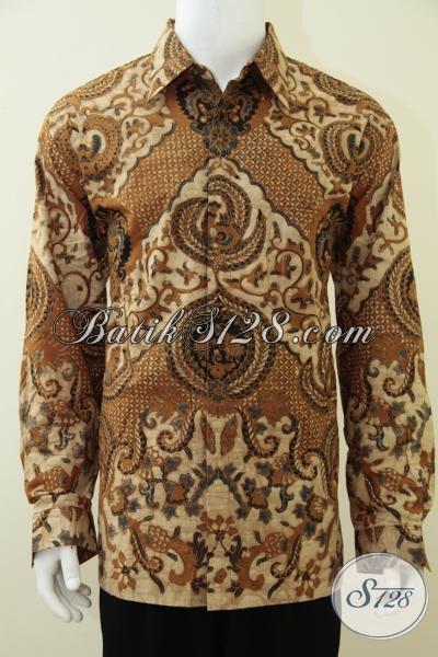 Baju Batik Solo Klasik Model Lengan Panjang Untuk Pria Muda Dan Dewasa, Hem Batik Tulis Full Furing Tampil Keren Berkelas [LP2671BTF-XXL]