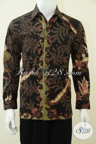 Tempat Beli Baju Batik Online Mewah Mahal Berkelas Paling Aman, Tersedia Pilihan Kemeja Batik Tulis Soga Kwalitas Premium Motif Klasik Elegan [LP2695TSF-M]