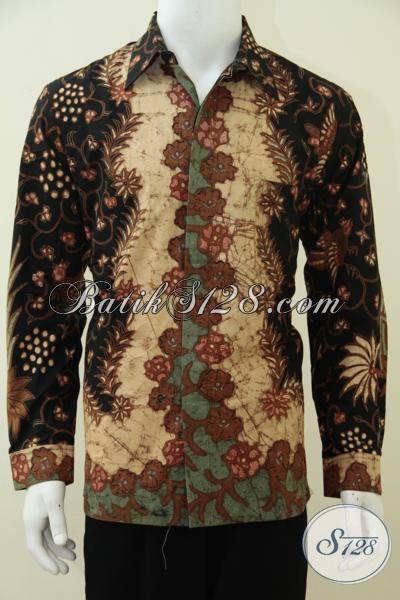Hem Batik Klasik Sentuhan Modern Kwalitas Premium, Baju Batik Lengan Panjang Proses Tulis Soga Biasa Dikenakan Oleh Pejabat Dan Elit Partai [LP2696TSF-L]
