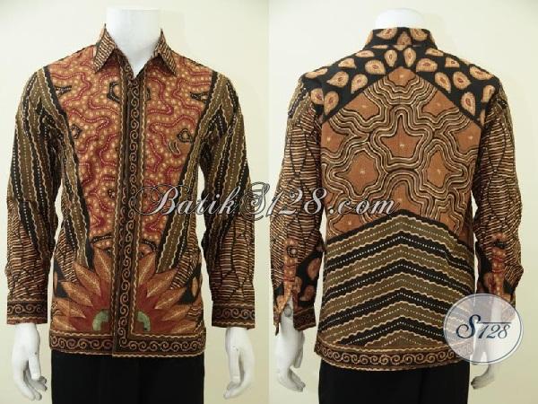 Hem Batik Tulis Soga Full Daleman Furing, Baju Batik Klasik Model Lengan Pendek Kwalitas Mewah Untuk Tampil Gagah Dan Elegan, Size M