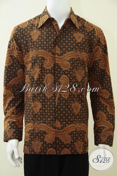 Kemeja Batik Klasik Khas Solo Model Lengan Panjang Untuk Pria Dewasa, Baju Batik Kombinasi Tulis Full Furing Untuk Kondangan Dan Rapat [LP2874BTF-L]