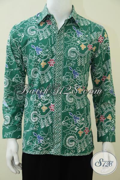 Busana Batik Lengan Panjang Warna Hijau Untuk Anak Muda Dan Dewasa, Pakaian Batik Motif Trendy Untuk Pesta Kerja Maupun Kondangan Tampil Lebih Rapi Gagah Dan Elegan [LP2878CT-M]