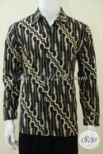 Kemeja Batik Klasik Model Lengan Panjang Untuk Pria, Busana Batik Modern Proses Kombinasi Tulis Kwalitas Terjamin, Size M