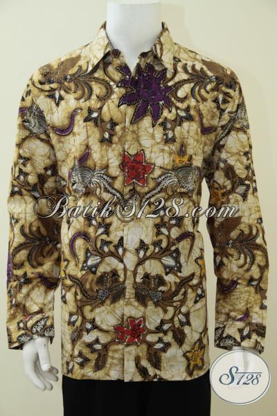 Pakaian Batik Klasik Pria Dewasa Model Lengan Panjang, Baju Batik Solo Proses Kombinasi Tulis Kwalitas Premium Harga Terjangkau, Size XL