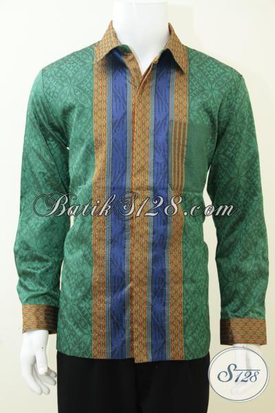 Model Baju Tenun Pria Terbaru, Busana Tenun Lengan Panjang Warna Hijau Mewah Dilengkapi Daleman Furing Yang Membuatnya Lebih Bekelas [LP2897NF-L]