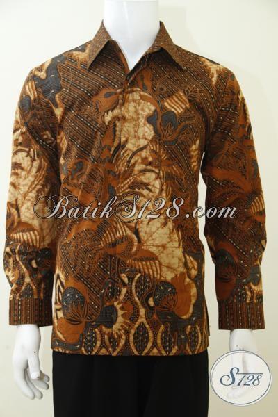 Baju Batik Lengan Panjang Untuk Cowok Modern Masa Kini, Busana Batik Mewah Full Furing Proses Kombinasi Tulis Dengan Harga Terjangkau [LP3010BTF-M]