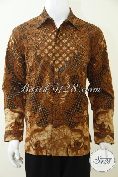 Baju Kemeja Batik Pria Dewasa Motif Klasik Model Lengan Panjang, Baju Batik Kombinasi Tulis Lebih Mewah Dengan Daleman Full Furing, Size L