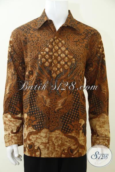 Pakaian Batik Klasik Untuk Pria Muda Dan Dewasa proses Kombinasi Tulis, Baju Batik Full Furing Mewah Membuat Penampilan Cowok Lebih Gagah Berwibawa, Size XL