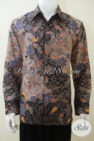 Kemeja Batik Mewah Proses Tulis Berbahan Sutra Mewah Alami, Baju Batik Lengan Panjang Full Furing Untuk Lebih Gagah Keren Bak Pejabat [LP3023SUWFTF-L]
