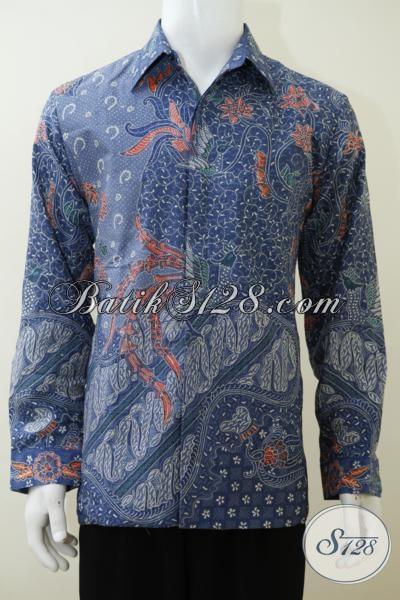 Pakaian Batik Sutra Lengan Panjang Proses Tulis, Kemeja Batik Full Furing Langganan Para Pejabat Masa Kini, Size L