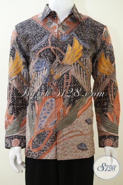 Kemeja Batik Mewah Bahan Sutra Kwalitas Premium, Baju Batik Tulis Lengan Panjang Full furing membuat Lelaki Lebih Gagah Berkarakter, Size L