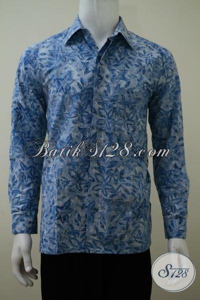 Kemeja Batik Lengan Panjang Berkwalitas Bagus Dengan Harga Murmer, Baju Batik Cap Smoke Warna Biru Motif Klasik Pria Lebih Gagah, Size S – M – L
