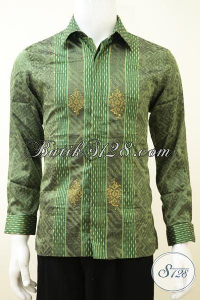 Kemeja Tenun Warna Hijau Motif Terkini Lebih Modern Dan Berkelas, Baju Tenun Lengan Panjang Full Furing Mewah Khas Pejabat [LP3263NF-S]