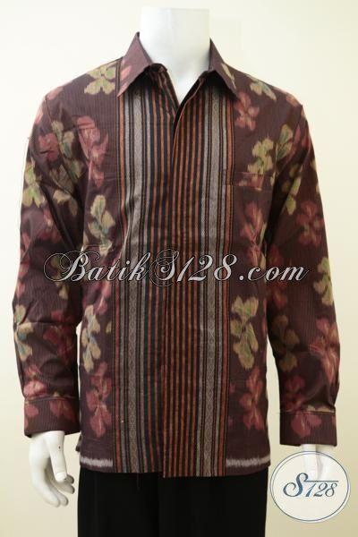 Baju Tenun Lengan Panjang Coklat, Baju Tenun Premium Full Daleman Furing Pria Tampil Gagah Bak Pejabt, Size XL