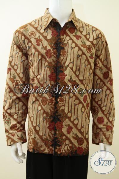 Hem Batik Mewah Buata Pria Muda Dan Dan Dewasa, Pakaian Batik Tulis Tangan Warna Soga Full Furing, Kemeja Batik Premium Kesukaan Para Executive, Size XL